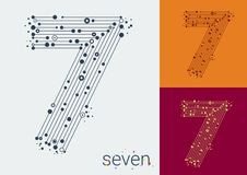 Vector number seven on a bright background. The image in the style of techno, created by interlacing lines and points stock illustration