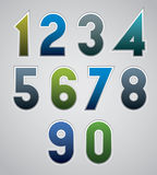 Vector numbers, bold numerals, made in web buttons style. Stock Photo