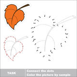 Vector numbers game. Autumn leaf to be traced. Stock Photography