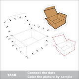 Vector numbers game. Brown opened empty box to be traced. Stock Photo