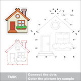Vector Numbers Game. Cute House To Be Traced. Royalty Free Stock Photo