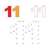 Vector numbers game. Dot to dot. Figure Eleven Royalty Free Stock Photography