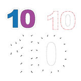Vector numbers game. Dot to dot. Figure Ten Royalty Free Stock Images