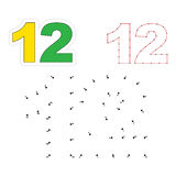Vector numbers game. Dot to dot. Figure Twelve Stock Photos