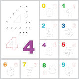 Vector numbers game. Dot to dot. Set of figures. Stock Images