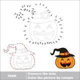 Vector numbers game. Halloween pumpkin to be traced. Royalty Free Stock Image