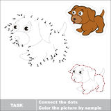 Vector numbers game. Little dog to be traced. Royalty Free Stock Images