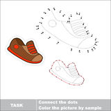 Vector numbers game. Sport shoe to be traced. Royalty Free Stock Photography