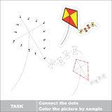 Vector numbers game. toy kite to be traced. Stock Photo