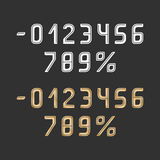 Vector numbers gold and white color with dark lines on grey field Stock Photo