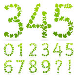 Vector Numbers of green leaves. Design template elements. Figures consisting of leaves Royalty Free Stock Photo