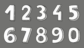 Vector numbers isolated on grey background. Hand drawn white vector numbers isolated on grey background Royalty Free Illustration