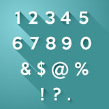 Vector numbers with long shadow. Vector set of numbers and signs with long flat shadow Royalty Free Stock Photography