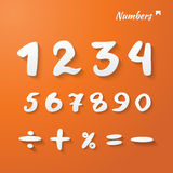 Vector numbers. And mathematical signs hand lettering. paper 3d style - orange background with shadows vector illustration