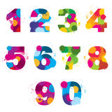 Vector numbers painted by colorful splashes. Rainbow arithmetic signs illustration Royalty Free Stock Photography