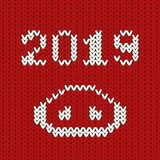Vector 2019 numbers with pig`s nose, new year template for calendar page or greeting card typography poster. Knitted. Knitted pattern with pig`s nose and 2019 in stock illustration