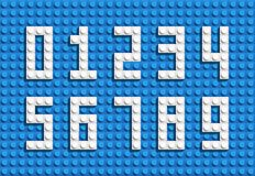 Vector numbers from plastic building lego bricks. Colorful lego numbers . Blue lego background. Realistic numbeers Royalty Free Stock Image