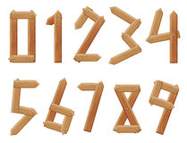 Vector numbers to ten. With texture of wood Royalty Free Stock Images