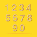 Vector : Numbers with wooden texture set on yellow background Royalty Free Stock Images