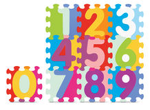 Vector numbers written with alphabet puzzle Royalty Free Stock Image