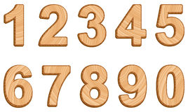 Vector numerals with texture of wood Royalty Free Stock Images