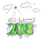 Vector 2018 nuovi anni con il concetto creativo dell'ecologia del disegno Fotografie Stock Libere da Diritti