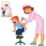 Vector nurse doing an inoculation to a small boy Stock Image