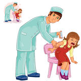 Vector nurse doing an inoculation to a small girl Stock Photo