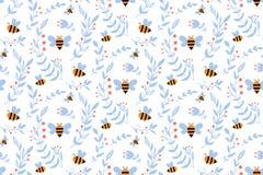 Free Vector Nursery Seamless Pattern With Honey Bee Royalty Free Stock Photos - 217736388