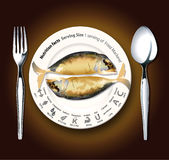Vector of Nutrition facts Fried Mackerel Royalty Free Stock Image