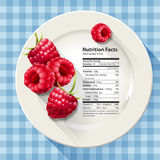 Vector of Nutrition facts in raspberries on white plate with kni Royalty Free Stock Images
