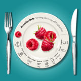 Vector of Nutrition facts in raspberries on white plate with kni Stock Photos