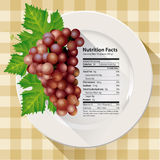 Vector of Nutrition facts red grapes Stock Photo