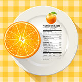 Vector of Nutrition Facts Serving Size 1 Orange Fruit Royalty Free Stock Photos
