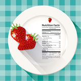 Vector of Nutrition facts strawberries Royalty Free Stock Image