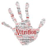 Vector nutrition health diet hand print stamp. Vector conceptual nutrition health diet hand print stamp word cloud isolated background. Collage of carbohydrates Stock Images