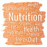 Vector nutrition health diet paint brush word cloud Stock Photography