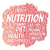 Vector nutrition health diet paint brush word cloud Royalty Free Stock Photos