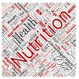 Vector nutrition health diet square red word cloud. Vector conceptual nutrition health diet square red word cloud isolated background. Collage of carbohydrates royalty free illustration
