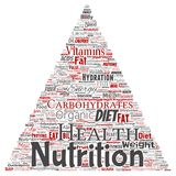 Vector nutrition health diet triangle arrow. Vector conceptual nutrition health diet triangle arrow word cloud isolated background. Collage of carbohydrates Royalty Free Stock Images