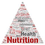 Vector nutrition health diet triangle arrow. Vector conceptual nutrition health diet triangle arrow word cloud isolated background. Collage of carbohydrates Stock Photography
