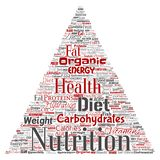 Vector nutrition health diet triangle arrow word cloud Royalty Free Stock Photos