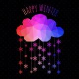 Vector a nuvem com queda de neve, fundo do inverno feito dos triângulos Fotografia de Stock Royalty Free