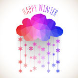 Vector a nuvem com queda de neve, fundo do inverno feito dos triângulos Imagem de Stock Royalty Free