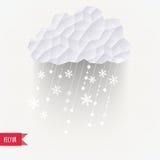 Vector a nuvem com queda de neve, fundo do inverno feito dos triângulos ilustração do vetor