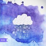 Vector a nuvem com queda de neve no backdround da aquarela, parte traseira do inverno ilustração royalty free