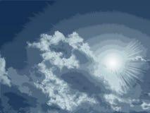 Vector nuvens detalhadas elevadas. ilustração stock