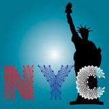Vector of NYC string art with silhouette landmark of USA Stock Image