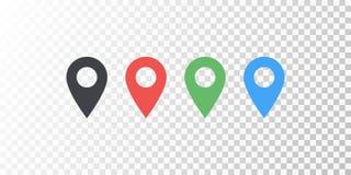 Vector o ícone colorido do lugar do mapa isolado no fundo transparente com sombra macia Elemento para a relação do Web site do ap imagem de stock