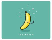 Vector o ícone da banana, personagem de banda desenhada engraçado do fruto Fotos de Stock Royalty Free